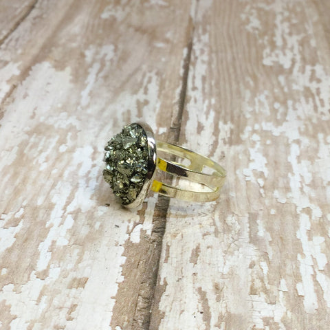 Big Raw Crushed Pyrite Silver Plated Adjustable Ring - Rings -Glam Geek