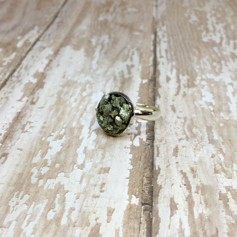 Crushed Raw Pyrite Silver Plated Adjustable Ring - Rings -Glam Geek