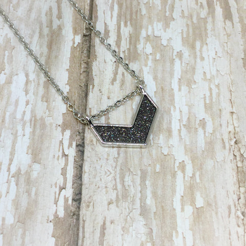 Dark Grey Glitter and Silver Chevron Arrow Pendant Necklace on Stainless Steel Chain - Necklace -Glam Geek