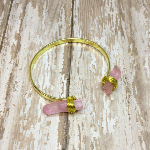 Wire Wrapped Pink Crystal Quartz Cuff Bracelet - Bracelets -Glam Geek