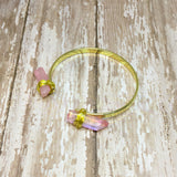 Wire Wrapped Pink Crystal Quartz Cuff Bracelet - Glam Geek