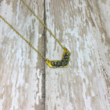 Raw Pyrite Chevron Arrow Gold Plated Pendant Necklace - Necklace -Glam Geek