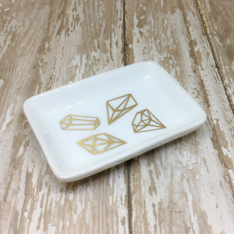 Gold or Silver Gems Ring Dish - Ring Dish -Glam Geek