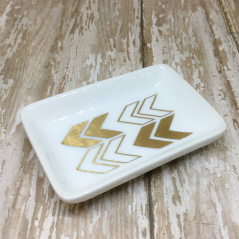 Gold or Silver Chevron Ring Dish - Ring Dish -Glam Geek