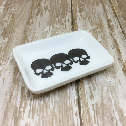 Charcoal Black Skulls or Gold Skulls Rectangle Ring Dish Trinket Dish - Ring Dish -Glam Geek
