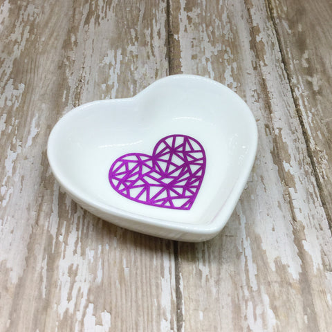 Magenta Pink or Gold Geometric Heart Ring Dish - Ring Dish -Glam Geek