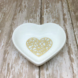 Magenta Pink or Gold Geometric Heart Ring Dish - Glam Geek