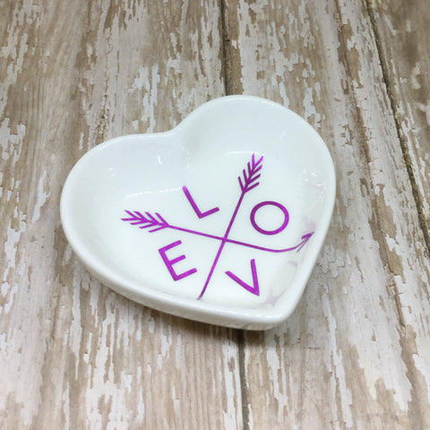 Magenta Pink or Gold Love and Arrows Heart Ring Dish - Ring Dish -Glam Geek