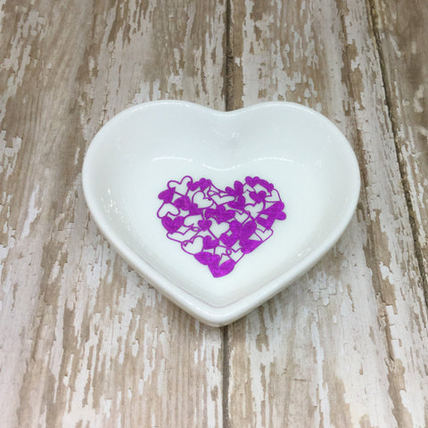 Magenta Pink or Gold Hearts Heart Shaped Ring Dish - Ring Dish -Glam Geek