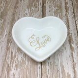 Gold or Magenta Pink Fancy Love Heart Ring Dish - Glam Geek