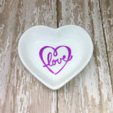 Magenta Pink or Gold Scroll Heart Love Heart Ring Dish - Glam Geek