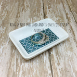 Teal or Gold Mermaid Rectangle Ring Dish - Ring Dish -Glam Geek