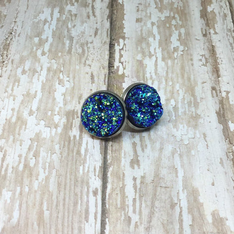 Big Blue Faux Druzy Stud Earrings 16mm - Glam Geek