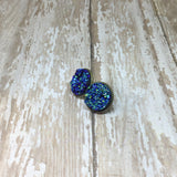 Big Blue Faux Druzy Stud Earrings 16mm - Stud Earrings -Glam Geek