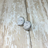 Big Bright Silver Faux Druzy Stud Earrings 16mm - Stud Earrings -Glam Geek
