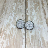 Big Bright Silver Faux Druzy Stud Earrings 16mm - Glam Geek