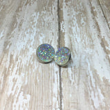 Big Clear Faux Druzy Stud Earrings 16mm - Stud Earrings -Glam Geek