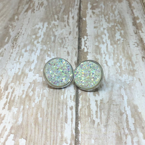 Big White Faux Druzy Stud Earrings 16mm - Stud Earrings -Glam Geek