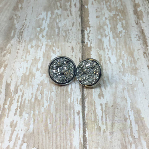Big Dark Silver Gunmetal Faux Druzy Stud Earrings 16mm - Stud Earrings -Glam Geek