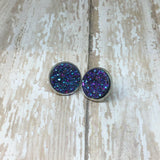 Big Purple Blue Faux Druzy Stud Earrings 16mm - Stud Earrings -Glam Geek