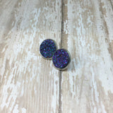 Big Purple Blue Faux Druzy Stud Earrings 16mm - Glam Geek