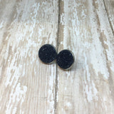 Big Black Faux Druzy Stud Earrings 16mm - Glam Geek