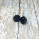 Big Black Faux Druzy Stud Earrings 16mm - Stud Earrings -Glam Geek
