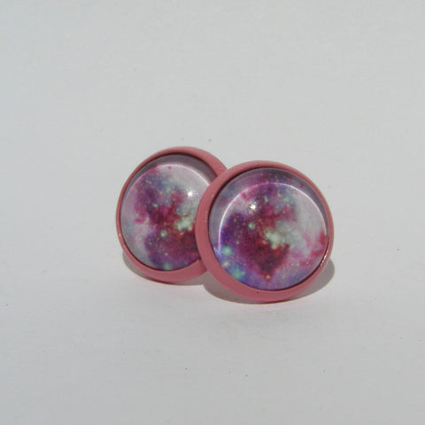 Galaxy Cabochon Stud Earrings 12mm - Stud Earrings -Glam Geek