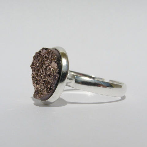 Small Adjustable Faux Druzy Ring 12mm - Glam Geek