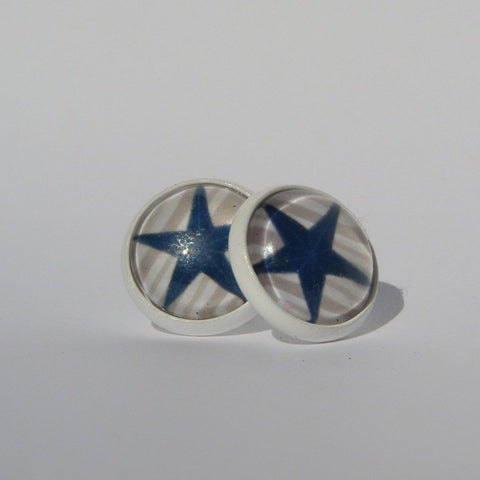 Blue Star Stud Earrings 12mm - Stud Earrings -Glam Geek