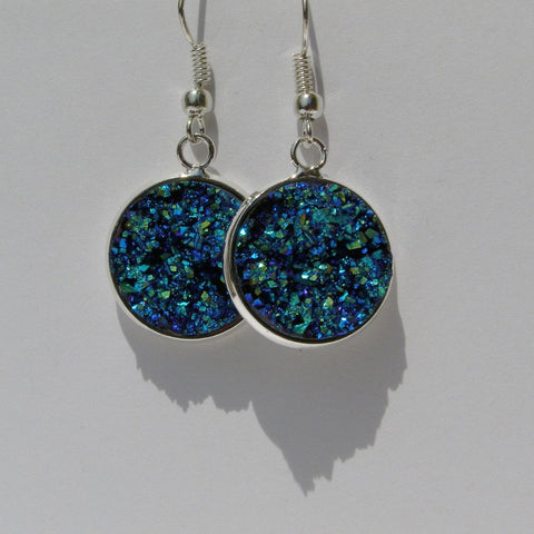 Big Faux Druzy Drop Earrings 16mm - Dangle Earrings -Glam Geek
