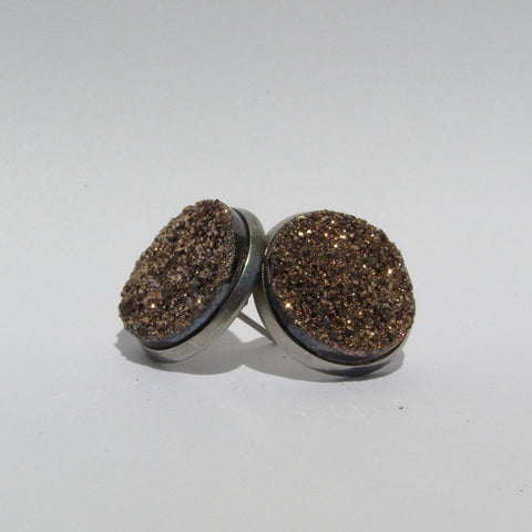 Big Rose Gold Faux Druzy Stud Earrings 16mm - Stud Earrings -Glam Geek