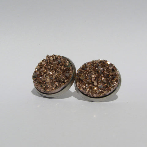 Rose Gold Chunky Faux Druzy Stud Earrings 16mm - Glam Geek