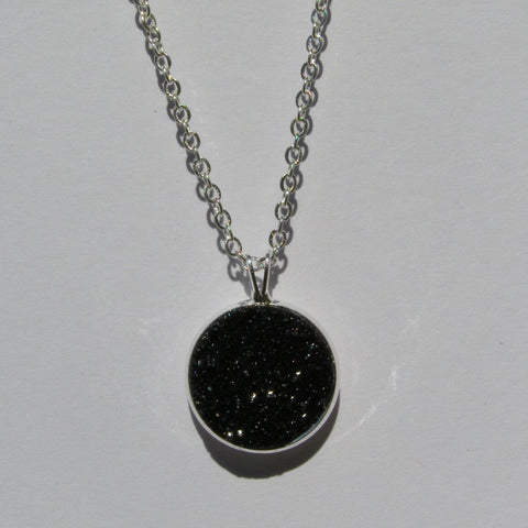 Large Pitch Black Faux Druzy Pendant 16mm - Pendants -Glam Geek