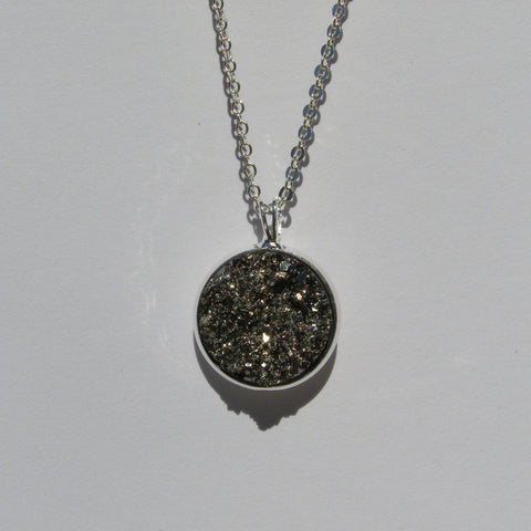 Big Silver Gunmetal Faux Druzy Pendant 16mm - Glam Geek