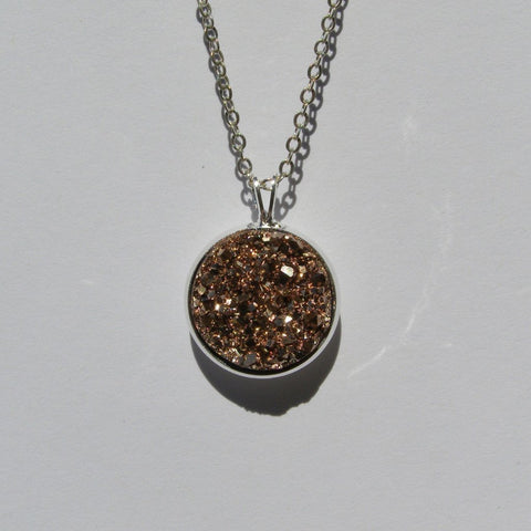 Big Rose Gold Faux Druzy Pendant 16mm - Pendants -Glam Geek