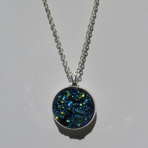 Big Blue Faux Druzy Pendant 16mm - Pendants -Glam Geek