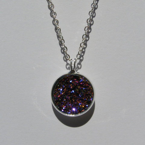 Big Purple Magenta Faux Druzy Pendant 16mm - Glam Geek