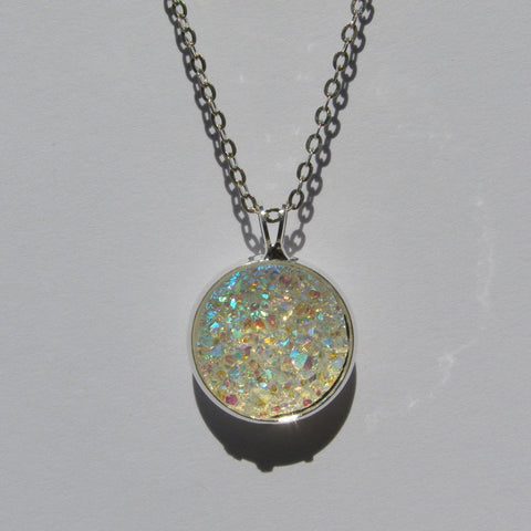 Big Aurora Borealis Clear Faux Druzy Pendant 16mm - Pendants -Glam Geek
