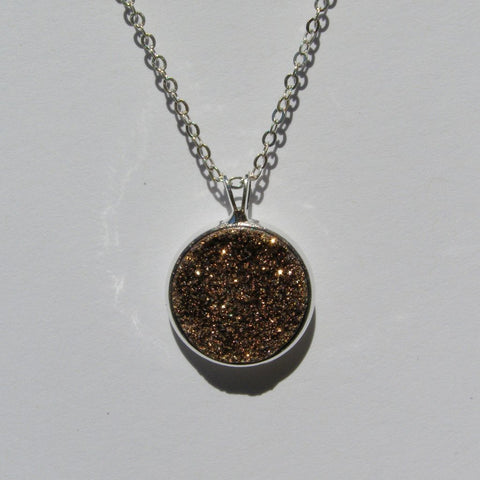 Large Rose Gold Titanium Faux Druzy Pendant 16mm - Pendants -Glam Geek