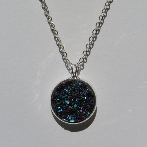 Big Blue Purple Teal Faux Druzy Pendant 16mm - Glam Geek