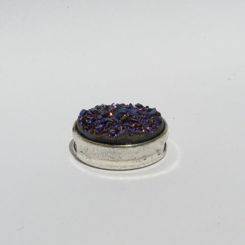 Large Purple Blue Druzy Slide Charm - Slider -Glam Geek