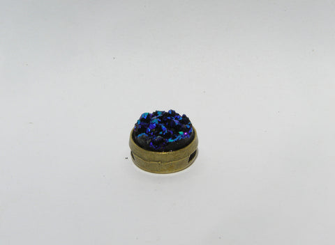Small Ocean Blue Faux Druzy Slide Charm - Slider -Glam Geek