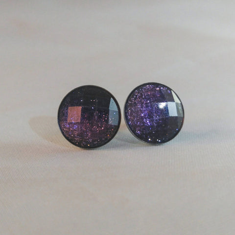 Glitter Faceted Ombre Cabachon Stud Earrings 12mm - Stud Earrings -Glam Geek