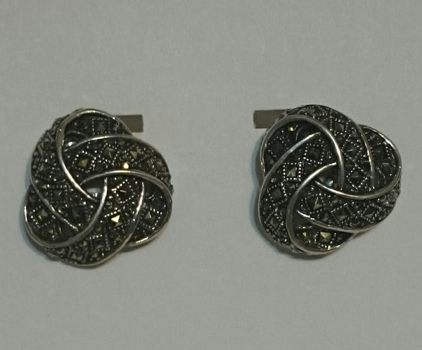 Vintage Sterling Silver/Marcasite Knotted Earrings