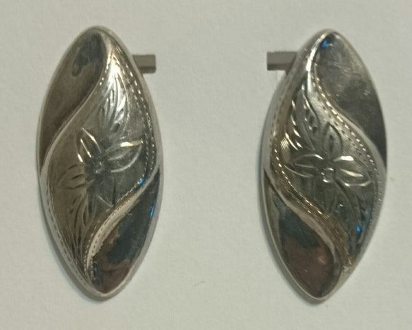 Sterling Silver Oval Etched Post Earrings
