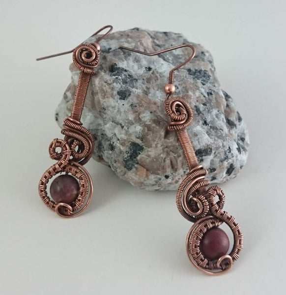 Oxidized Copper Dangle Earrings with Jasper Beads