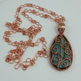 Copper Labradorite Pendant With Infinity Chain