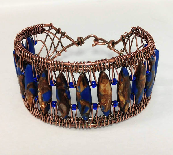 Copper Snake Weave Bracelet with Lapis Bronzite Impression Jasper