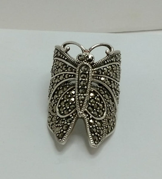 Sterling Silver and Marcasite Butterfly Ring
